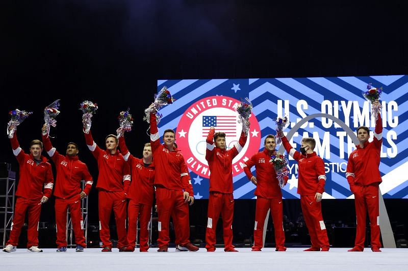 Alex Diab, Akash Modi, Allen Bower, Cameron Bock, Brandon Briones, Brody Malone, Yul Moldauer, Sam Mikulak, Shane Wiskus, and Alec Yoder pose after being selected to the 2021 U.S. Olympic Gymnastics team after the Men's competition of the 2021 US Gymnastics Olympic Trials at America's Center (Photo by Jamie Squire/Getty Images) Alex Diab, Akash Modi, Allen Bower, Cameron Bock, Brandon Briones