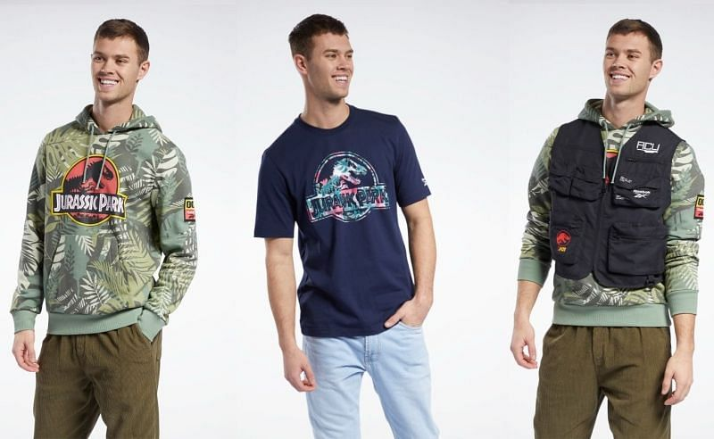 Reebok x Jurassic Park T-Shirt, Hoodie, and utility vest. (Image via Reebok)