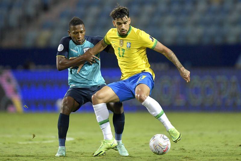 Lucas Paqueta in action for Brazil