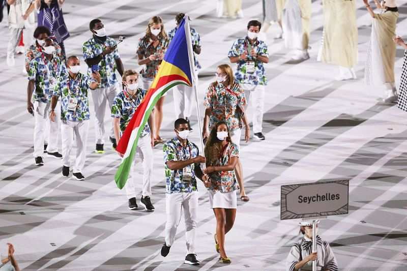 Flag bearers Felicity Passon and Rodney Govinden of Team Seychelles during the Opening Ceremony