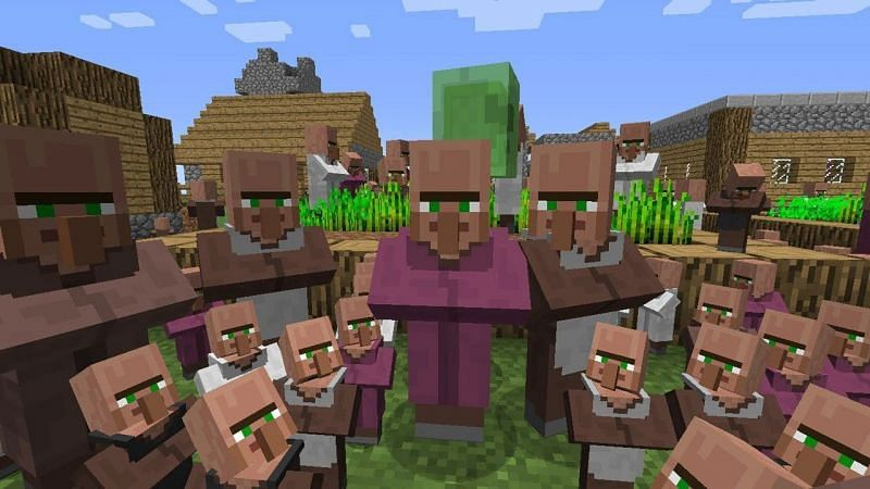 Many players in Minecraft have likely witnessed their villagers go through the doors of their homes plenty of times (Image via Mojang)