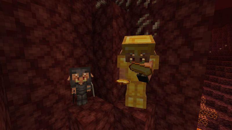 Piglin looking at gold ingot (Image via Minecraft)