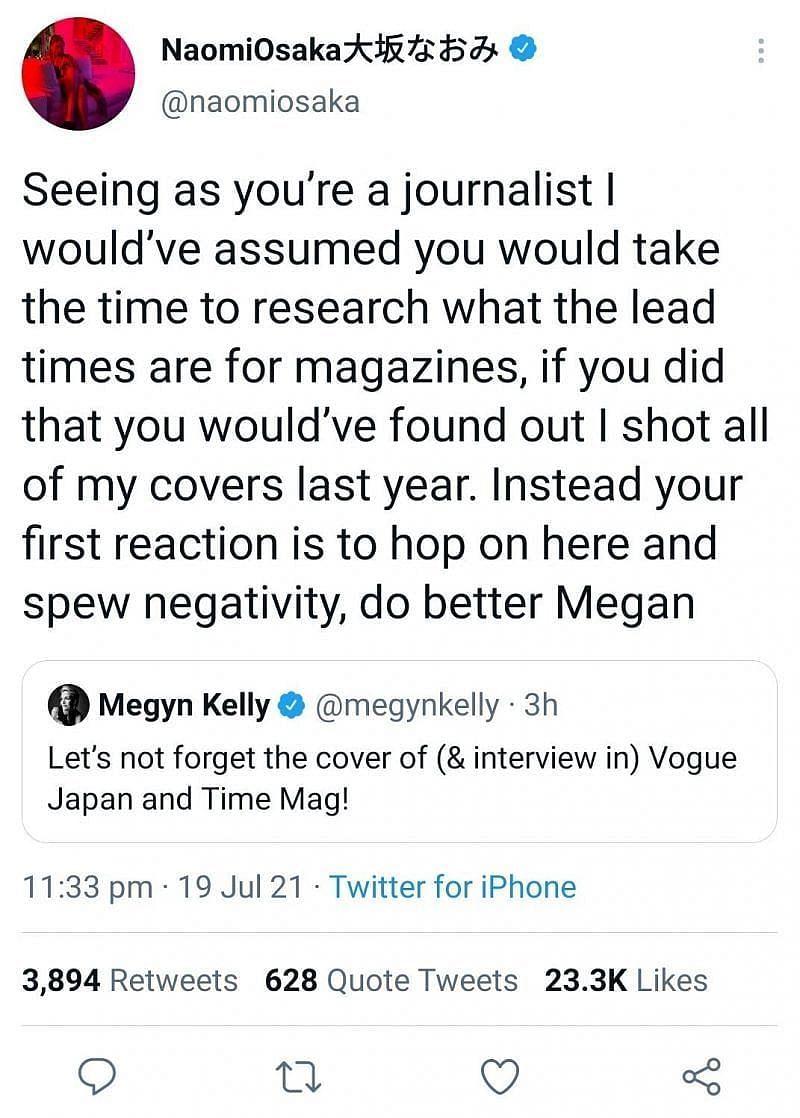 Naomi Osaka's reply to Megyn Kelly