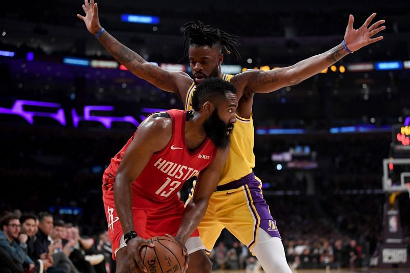 James Harden #13 when he was with the Houston Rockets being guarded by Reggie Bullock #35 as a member of the Lakers back in the 2018-19 season