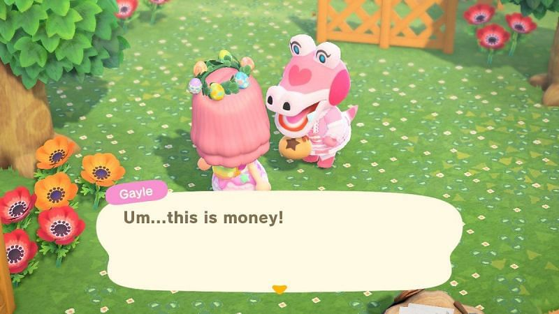 Gayle is shocked when an Animal Crossing player tries to offer her money (Image via Twitter)