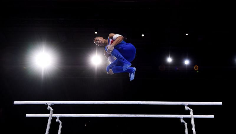 Joe Fraser competes on Parallel Bars during the Apparatus Finals at the 2019 World Artistic Gymnastics Championships (Photo by Laurence Griffiths/Getty Images)