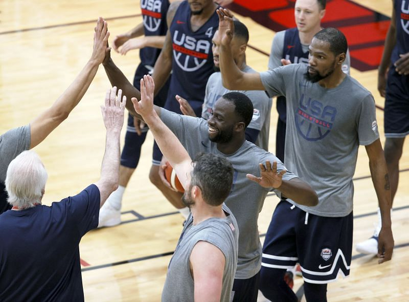 Head coach Gregg Popovich, Kevin Love #11, Draymond Green #14, Damian Lillard #6 and Kevin Durant #7 practice at the Mendenhall Center.