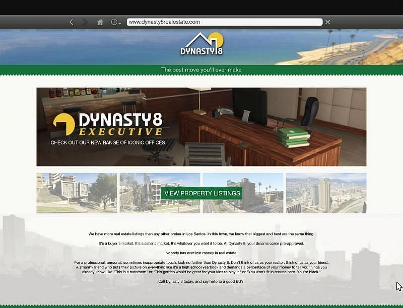 The Dynasty 8 website can be found in the in-game browser (image via GTAWiki)