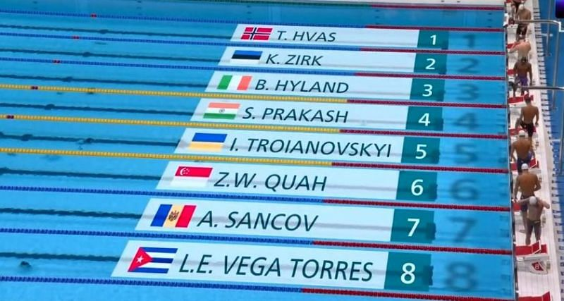 Indian swimmer Sajan Prakash finishes 4th (200m butterfly heats)