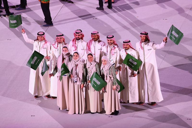 Athletes from Team Saudi Arabia are seen during the Opening Ceremony of the Tokyo 2020 Olympic Games