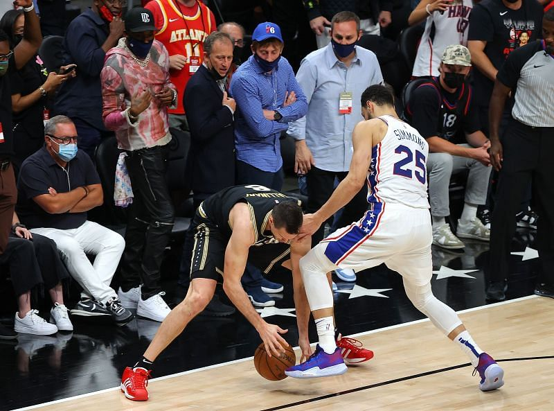 Ben Simmons knocks the ball out of bounds