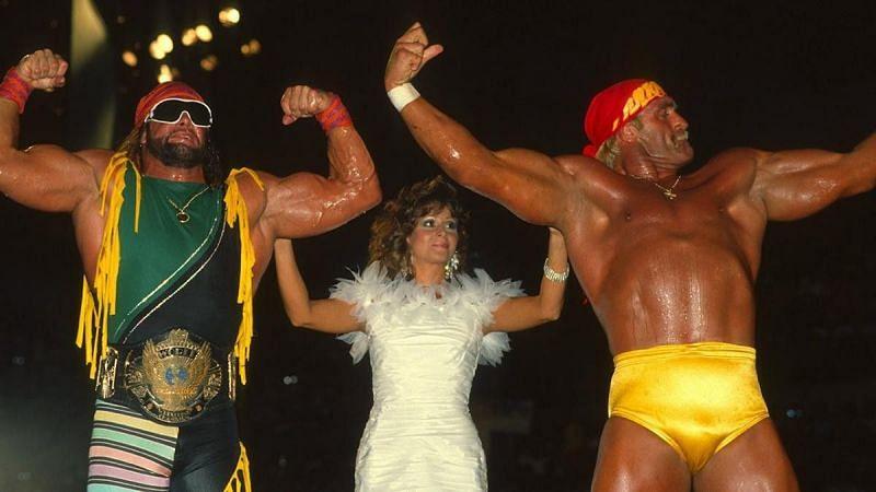 Randy Savage, Miss Elizabeth, and Hulk Hogan
