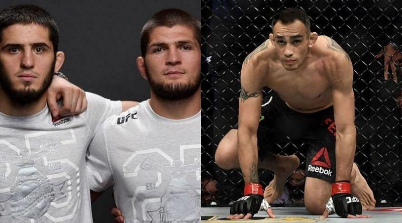 Islam Makhachev (extreme left) wants to fight Tony Ferguson (right)