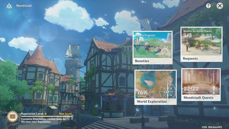 Bounty in the Reputation menu (Image via Genshin Impact)