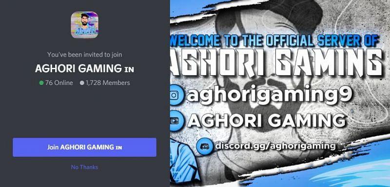 Server of Aghori Gaming (Image via Discord)