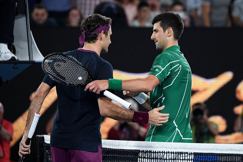 Roger Federer and Novak Djokovic from their latest career meeting - at Australian Open 2020