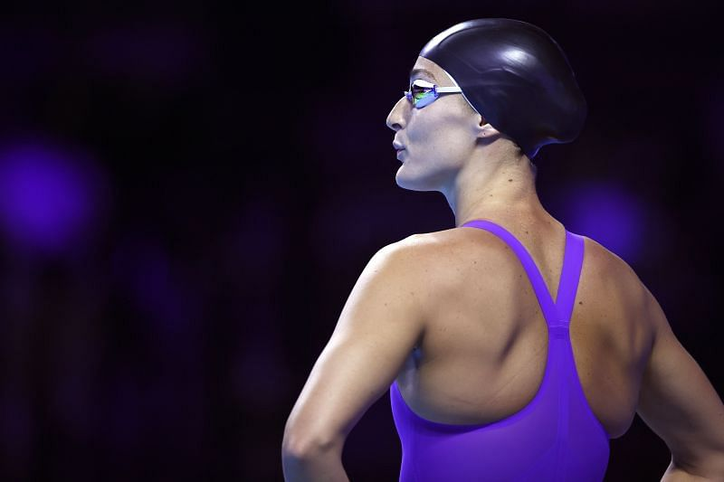 Leah Smith of the United States competes in a preliminary heat for the Women's 200m freestyle during Day Three of the 2021 U.S. Olympic Team Swimming Trials