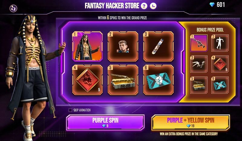 There are two types of spins available in the Fantasy Hacker Store (Image via Free Fire)