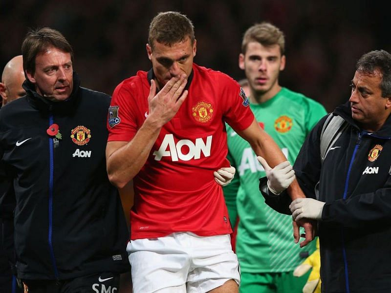 Nemanja Vidic suffered a head injury against Arsenal and did not return for the second half.