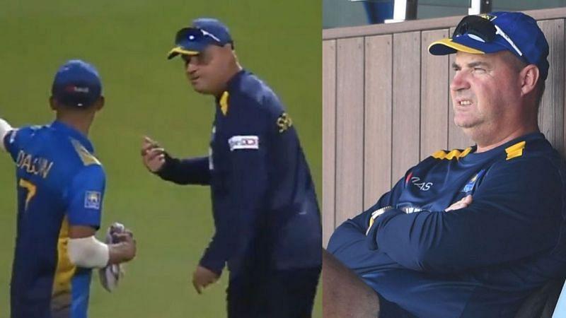 श्रीलंका के कोच मिकी आर्थर मैदान पर कप्तान दसुन शनाका से बहस करते हुए दिखे
