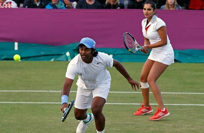 Leander Paes and Sania Mirza at the 2012 London Olympics