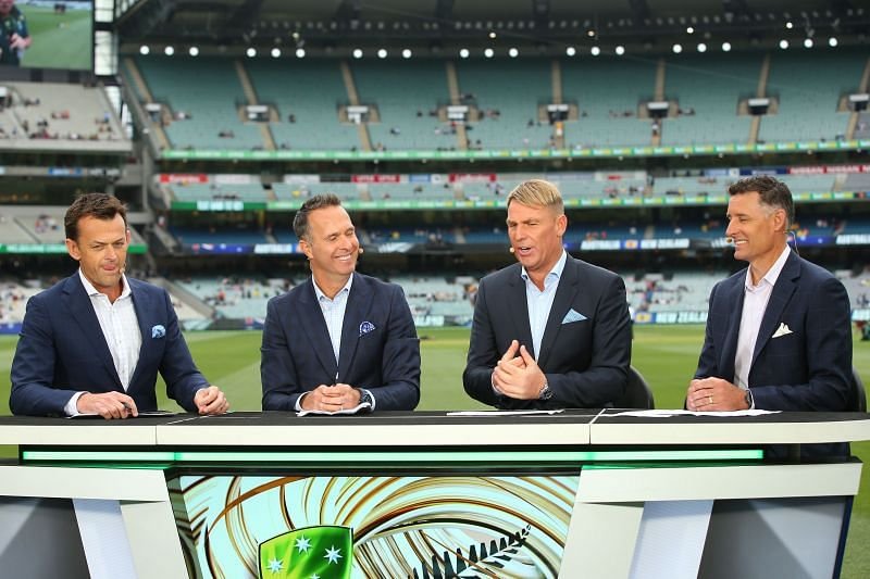 (From left to right) Adam Gilchrist, Michael Vaughan, Shane Warne and Michael Hussey