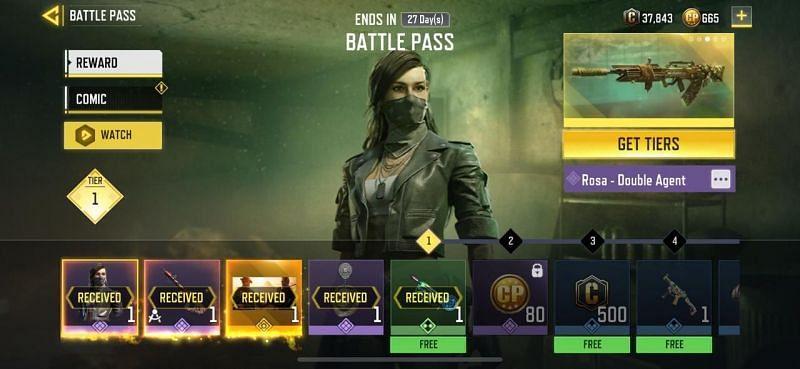 Premium Battle Pass tiers in COD Mobile (Image via COD Mobile)