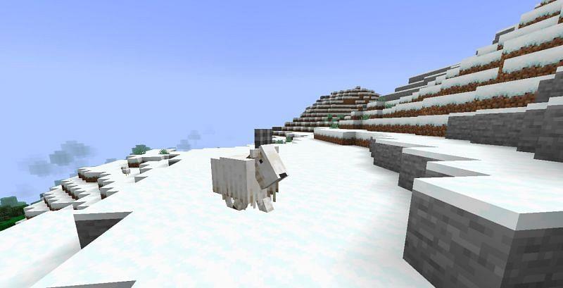 A still of a lone Minecraft goat (Image via Minecraft)