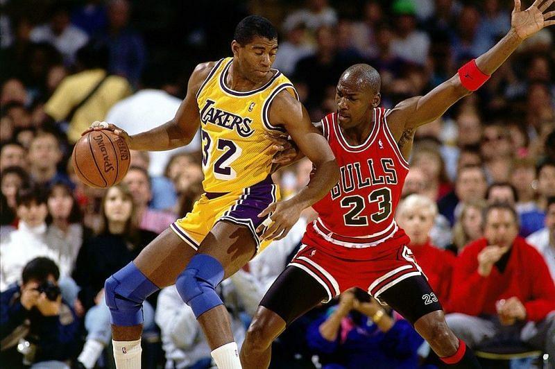 Magic Johnson (left) vs Michael Jordan in the 1991 NBA Finals [Photo by Andrew D. Bernstein / NBAE via Getty Images].