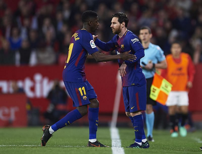 Ousmane Dembele (left) and Lionel Messi
