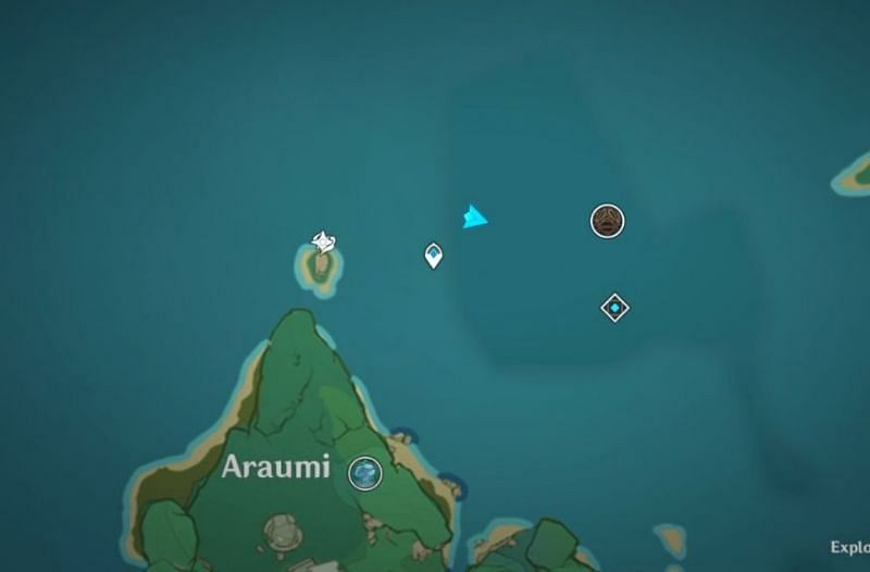 Location of the fourth old stone slate on the map (Image via Genshin Impact)