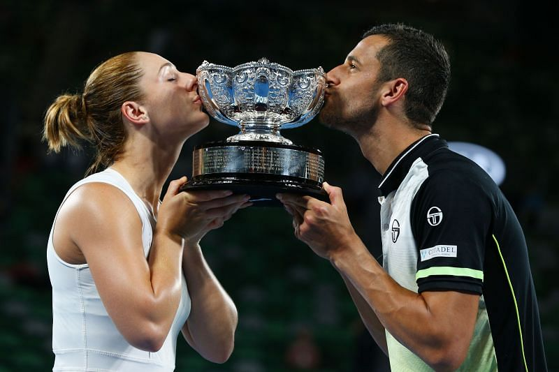 Gabriela Dabrowski and Mate Pavic with the 2018 Australian Open trophy