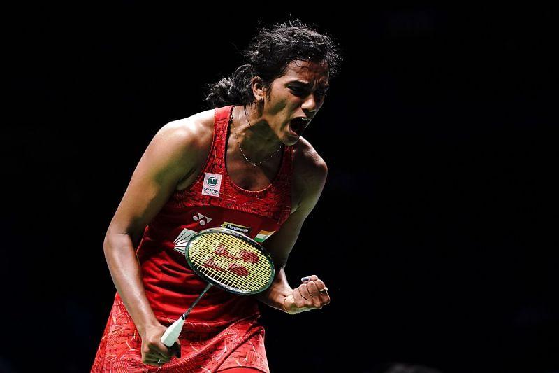 PV Sindhu celebrates after winning a point at BWF World Championships 2018