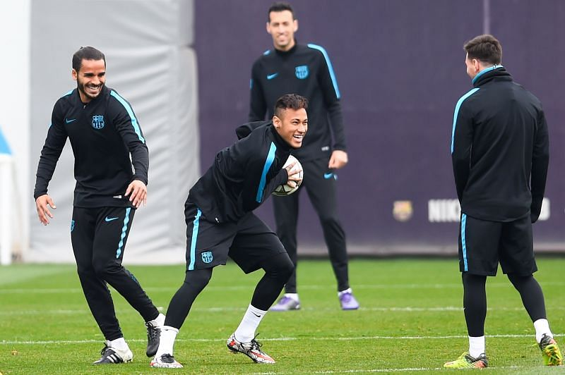 Douglas (extreme left) hardly appeared for the Blaugrana