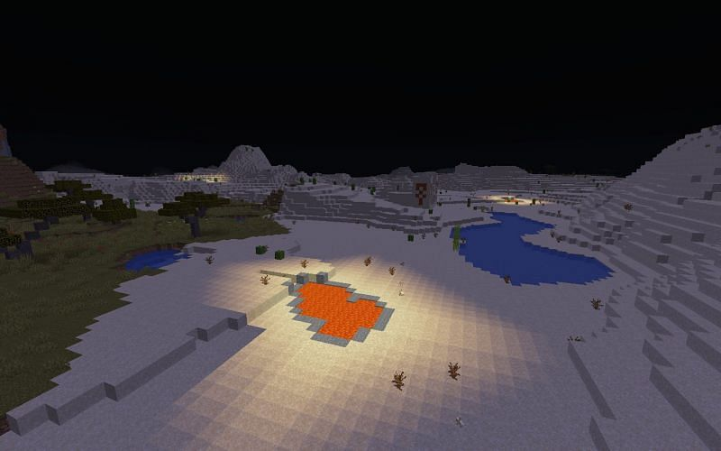 Lava emits light (Image via Minecraft)