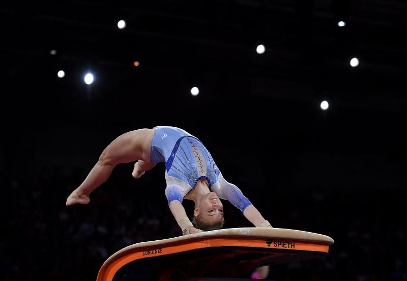 Jade Carey has ended up with silver medals in the last two World Championships and will be looking forward to changing the color of her metal at the Tokyo Olympics 2020 (Photo by Laurence Griffiths/Getty Images)