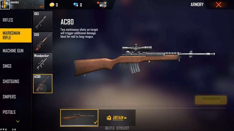 The AC80 in Free Fire (Image via Moniez Gaming)