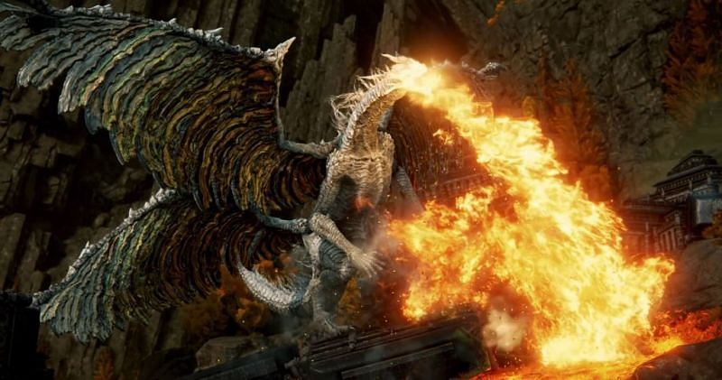 Dragon boss as showcased in the trailer for Elden Ring (Image via Bandai Namco)