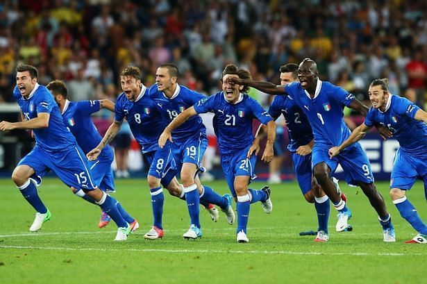 Italy players exult after their penalty-shootout win over England in the Euro 2012 quarter-final.