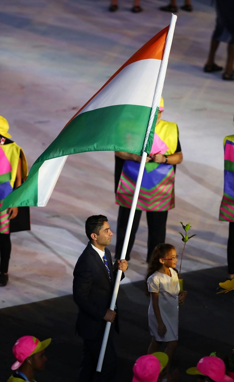 Abhinav Bindra carries the Indian flag at the Opening Ceremony Rio 2016 Olympic Games.