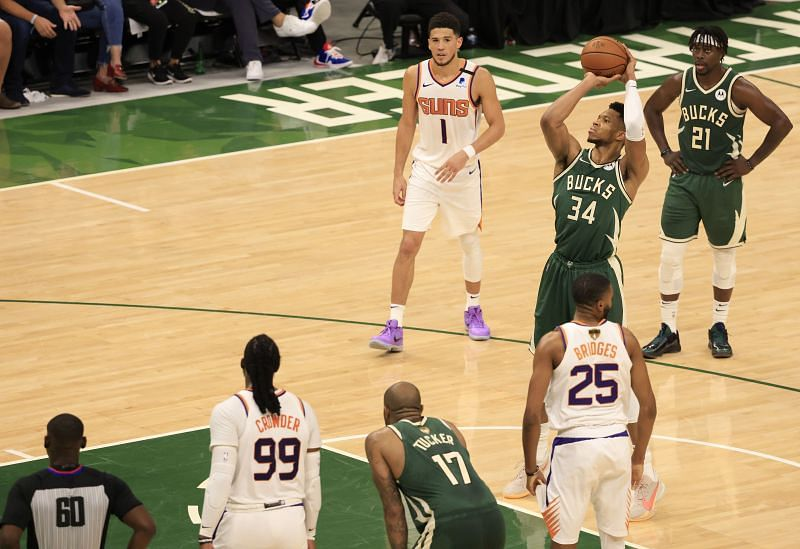Giannis Antetokounmpo #34 takes a free throw during the second half of the NBA Finals Game 3