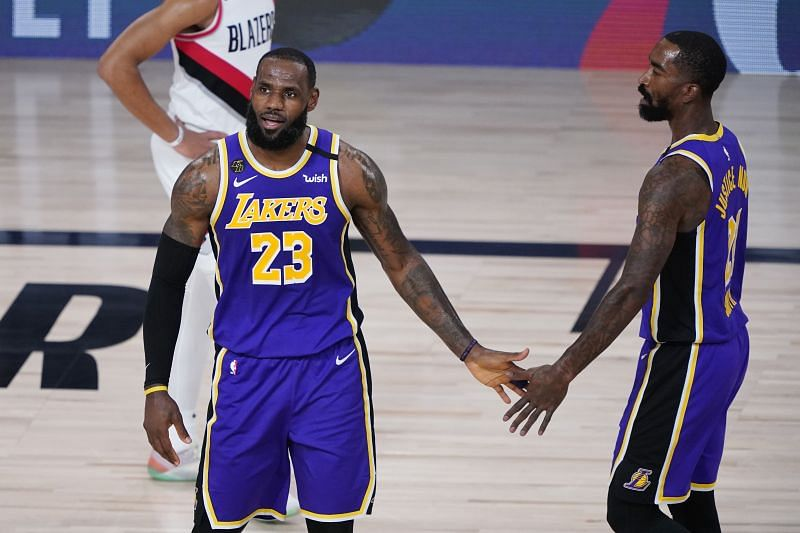 LeBron James and JR Smith of the Los Angeles Lakers