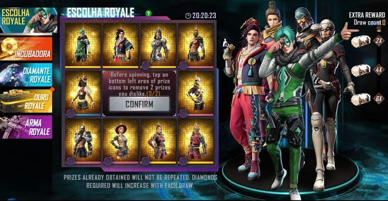 The Escolha Royale in the Free Fire Brazil server (Image via Free Fire)