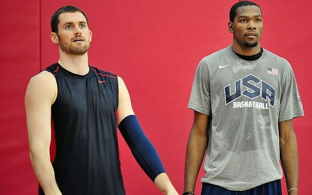 Kevin Love and Kevin Durant representing Team USA in the Olympics