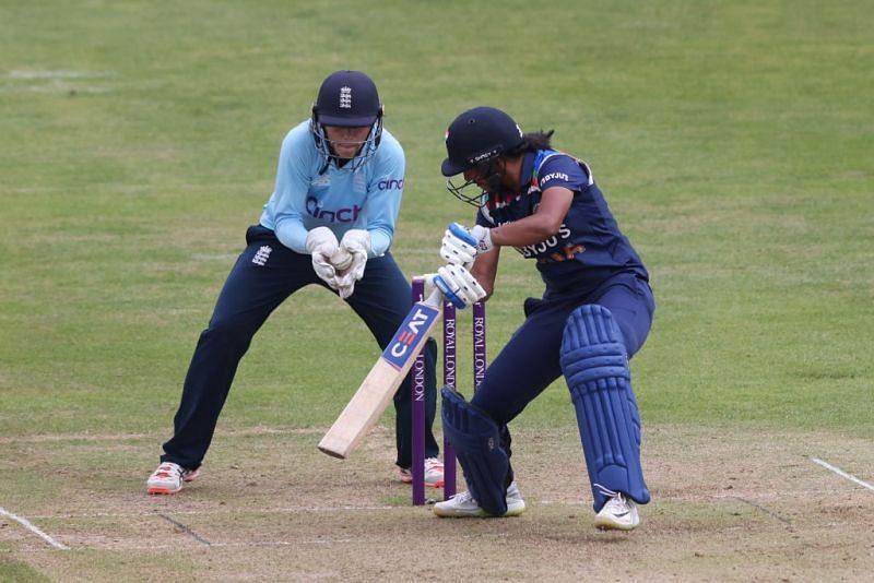 Harmanpreet Kaur has failed to fire in England so far. Pic: ICC