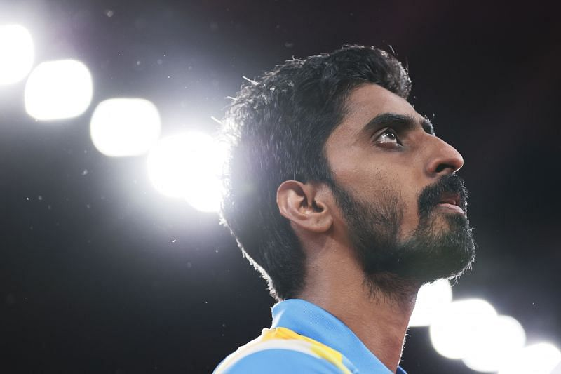 Sathiyan Gnanasekaran of Team India in action during his during his Men's Singles Round 2 match on Day 2 of Tokyo Olympics