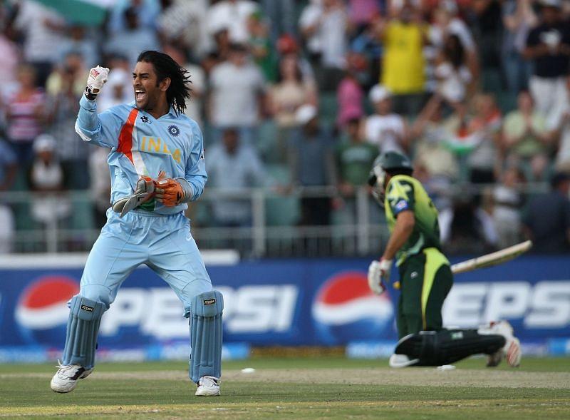 MS Dhoni celebrates India's T20 World Cup win in 2007.