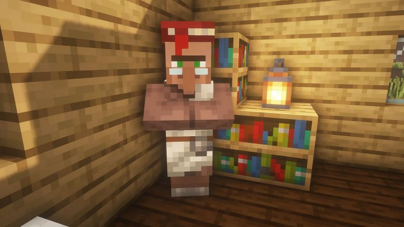 A librarian villager in the game (Image via Minecraft)