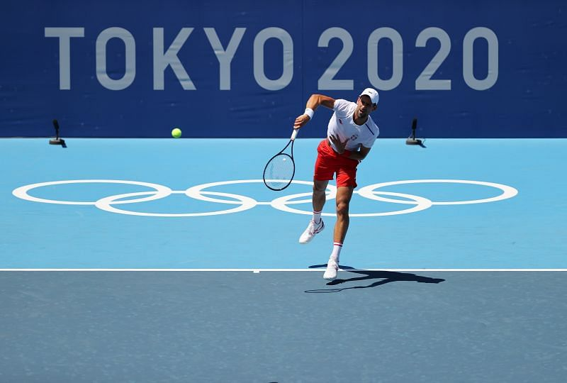 Novak Djokovic serves during the practice session ahead of the Tokyo 2020 Olympic Games at Ariake Tennis Park in Tokyo, Japan