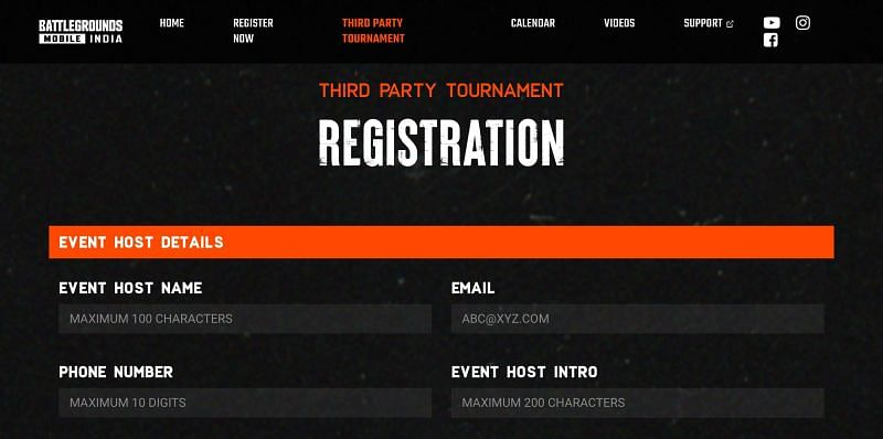 The registration form on the site (Image via Battlegrounds Mobile India)